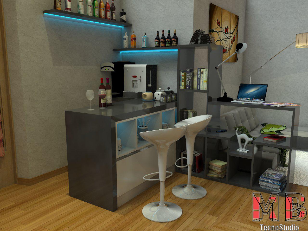 Arredo soggiorno angolo bar libreria mb tecnostudio for Arredo soggiorno